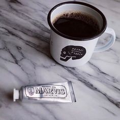 Two of our favorite things.... coffee  and Marvis Whitening Mint toothpaste in the super cute travelsize. Keep one in your office and one in your travel bag to keep your teeth pearly white on the go.  @tokyoandcoffee #marvis #whitening #offenstore