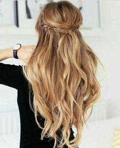 half back braid / long hair / loose curls