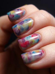 Watercolor Nails Tutorial: http://www.chalkboardnails.com/2012/01/watercolor-nails.html