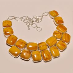 MARVELOUS YELLOW BALTIC AMBER PRETTY .925 SILVER NECKLACE #Handmade #Choker