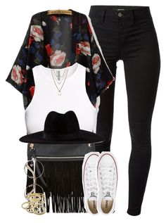 """""""☆"""" by cheerstostyle ❤ liked on Polyvore featuring J Brand, H&M, Filù Hats, Converse, Jules Smith and Kendra Scott"""