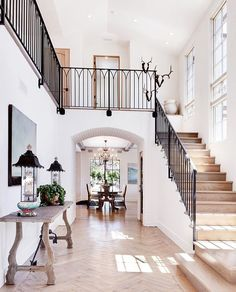 Love the white walls, arches, and beautiful herringbone wood floors in this Seaward Avenue Custom Home in the portfolio of Patterson Custom Homes Design Entrée, Foyer Design, Design Ideas, Stair Design, Design Blogs, Staircase Design, Design Trends, Style At Home, Herringbone Wood Floor