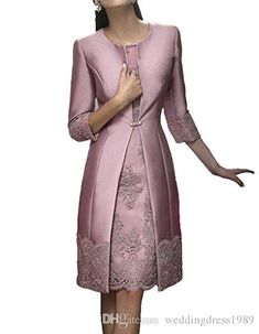 Elegant Sheath Short Mother Formal Wear With Jacket Evening Satin Lace Party Wedding Guest Dress 2018 Mother Of The Bride Dress Suit Gowns Mother Of The Bride Dresses Long, Mothers Dresses, Mother Bride, Bride Groom Dress, Bride Gowns, Lace Bride, Tea Length Dresses, Dresses With Sleeves, Wedding Guest Gowns