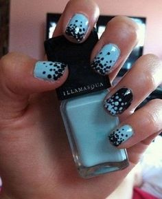 Black and Blue Polka Dots Nail Art. (via forcreativejuice.com)