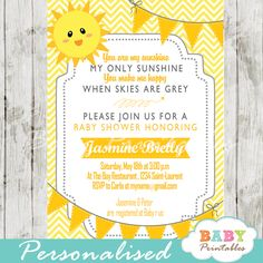 Printable you are my sunshine invitation for a baby boy or a gender neutral shower. This personalized sunshine baby shower invite card features a cute little sun with golden bunting flags against a white and yellow chevron background. #babyprintables