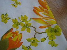 Vintage 1960s Border Print Fabric Tropical Flowers 2012409