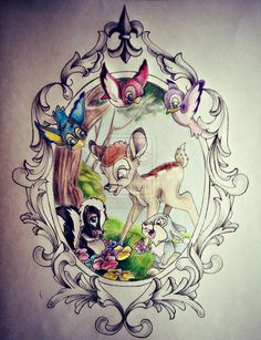 Frame, birds, flowers for my bambi, thumper tattoo