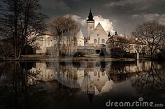 Photo about View of the chateau across the lake in Telc, South Bohemia, Czech Republic. Image of bohemia, castle, republic - 24049082 Eastern Europe, Czech Republic, Prague, Scenery, Castle, Tours, Stock Photos, Vienna, Travel