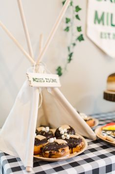 A Camp Themed Birthday Party – Project Nursery Camping Party Sweets and Treats Dessert Table Boys First Birthday Party Ideas, 1st Boy Birthday, Boy Birthday Parties, First Birthday Camping Theme, Bonfire Birthday, Outdoor Birthday, Camping Party Decorations, Camping Parties, Camping Themed Party