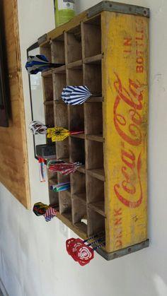 Antique Coke Crate used as Dart holder! So stinkin cute! Antique Coke Crate used as Dart holder! So stinkin cute! Garage Bar, Man Cave Garage, Garage Ideas, Man Cave Diy, Man Cave Home Bar, House Games, Basement Gym, Backyard Games, Dartboard Ideas