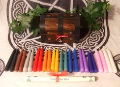 Witch Magical 24 Hand dipped Candle Set in Wooden Treasure Chests Starter Kit for Rituals Altar Pagan Wicca Spells