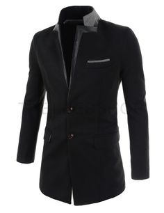(DJC02-BLACK) Mens Slim Fit China Collar Leather Patched Chest Pocket 2 Button Coat