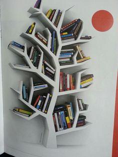 66 Super ideas for book shelf tree bookshelf ideas Tree Bookshelf, Tree Shelf, Wood Bookshelves, Bookshelf Ideas, Tree Book Shelves, Library Furniture, Diy Furniture, Home Crafts, Diy Home Decor