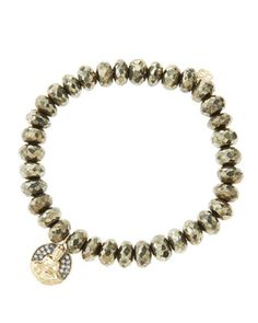 8mm+Faceted+Champagne+Pyrite+Beaded+Bracelet+with+14k+Gold/Diamond+Sitting+Buddha+Charm+(Made+to+Order)+by+Sydney+Evan+at+Neiman+Marcus.