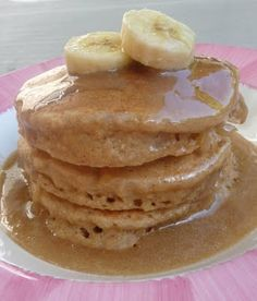 Banana Bread Pancakes with Vanilla and maple syrup.  Sounds good, minus the maple part.