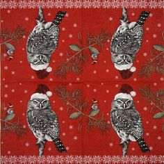 Paper Napkin - Robin and owl Christmas Paper Napkins, Paper Napkins For Decoupage, Party Napkins, Paper Design, Robin, Owl, Birds, Lunch, Animals