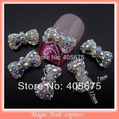 MNS220 3D hợp kim AB thạch bows nail art DIY nail quyến rũ trang sức nguồn cung cấp trang trí bowknots 10 cái