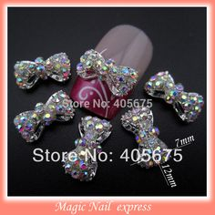 MNS220 3D alloy AB rhinestones bows nail art DIY nail jewelry charms decoration supplies bowknots 10pcs
