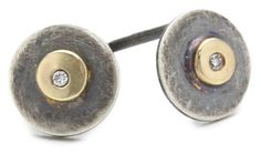 """Amazon.com: Melissa Joy Manning """"Tiny Constellations"""" Mixed Metal Round Post with Diamond Detail Earrings: Jewelry"""