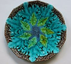 """ANTIQU MAJOLICA BEGONIA & Other LEAF 8"""" PLATE~Rich Greens w/Brown Pebble Border"""
