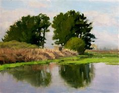 "Daily Paintworks - ""Mornng Light-Arcata Marsh"" - Original Fine Art for Sale - © Kathy O'Leary"