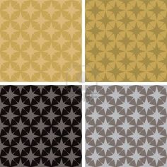 illustrated seventies style wallpaper with a seamless repeat design in four metalic color variations Stock Photo
