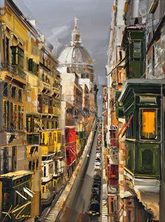 """St. Paul's Cathedrel View la Valletta, Malta (40""""x 30"""") Copyright Kal Gajoum 2013"""