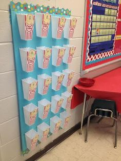 Learning Under the BIG TOP! Schoolgirl Style Carnival themed classroom decor Popcorn box organization www.schoolgirlstyle.com