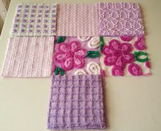 20 Vintage Chenille Fabric Squares Purples / Lavender Flowers and Rosebuds