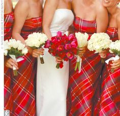 Love this idea, beautiful way to wear your tartan! Have a sash with clan brooch for the bride.