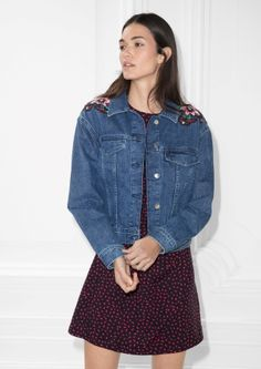 & Other Stories image 3 of Embroidery Denim Jacket in Embroidery & Blue