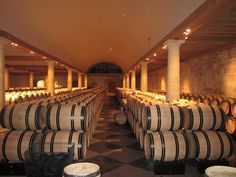 Inside the cellars of Chateau Haut Brion.