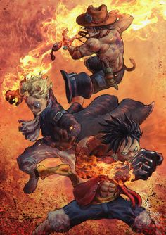 Fire Fist Brothers by Warrick Wong Manga Anime One Piece, One Piece Fanart, One Piece Series, One Piece Ace, Mugiwara No Luffy, One Piece Tattoos, Film Manga, Character Art, Character Design