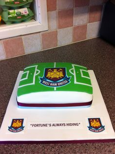 West Ham football cake West Ham Football, Football Cakes, 7th Birthday, Birthday Cakes, Rectangle Cake, Personalized Football, Cake Logo, Blowing Bubbles, Square Cakes