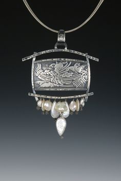 "Stunning detailed silver necklace from Sara Burns - ""Birds and Wheat"" . Handmade sterling silver pendant inspired by japanese woodblock prints. Freshwater pearls accent the bird and wheat motif. 18"" cable included. 3"" x 3.5"""