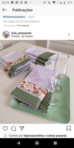 Small Sewing Projects, Sewing Hacks, Sewing Tutorials, Dish Towels, Tea Towels, Dinning Table Set, Patchwork Quilt Patterns, Love Craft, Patch Quilt