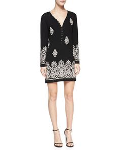 Long-Sleeve Beaded Patterned Dress by Yoana Baraschi at Neiman Marcus.