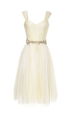 Shop Daffodil Chantilly Lace And Tulle Cocktail Dress by Marchesa for Preorder on Moda Operandi