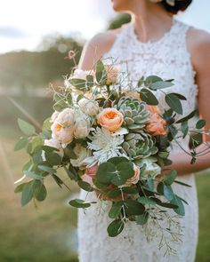 """Peach, succulent and foliage bridal wedding bouquet inspiration from NZ Bride & Groom magazine (@nzbrideandgroom) on Instagram: """"Succulent #fridayflorals to kick-start your weekend ❤️ Lush, ethereal and dreamy, this gorgeous #peachbridalbouquet"""