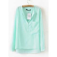 Turquoise Silk Collarless Dipped Hem Long Sleeve Blouse with Front... ❤ liked on Polyvore