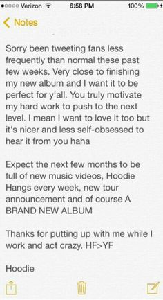 He posted this on twitter. Can't wait for the new album! & for Hoodie hangs to be back. -yesenia