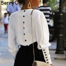 BerryGo Puff sleeve women blouse shirt Button white v neck tops spring 2019 Elegant office lady streetwear blusas women shirts Classy Womens Dresses, Dame Chic, Look Office, Office Wear, Office Uniform, Casual Office, Outfit Office, Casual Chic, Casual Wear