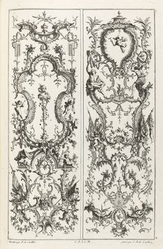 """Print, """"Designs for Two Gueridons and a Wall Bracket with a Vase"""", 1745, etching and engraving on off-white laid paper, by Jean-François Cuvilliés."""