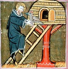 Medieval chicken coop on stand, better protected from predators such as foxes and martens. Willehalm From a manuscript in 1320, Austrian National Library, Codex 2670 fol388r.