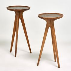 Jon van der Kort; Mahogany and Leather Occasional Tables for Drexel, 1960s.