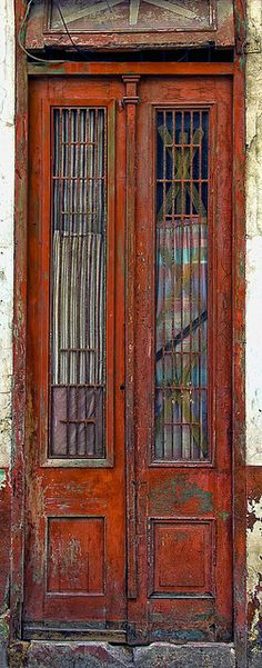 Tall, Narrow Red Door in Havana, Cuba