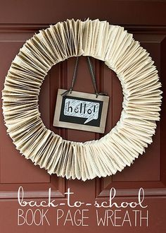 Back to School Book Page Wreath