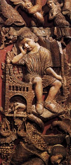 Allegories of the Months: August mid-13th century Stone Basilica di San Marco, Venice Medieval Life, Medieval Art, Wood Sculpture, Sculptures, Romanesque Sculpture, Architectural Sculpture, Gothic Art, Middle Ages, Les Oeuvres