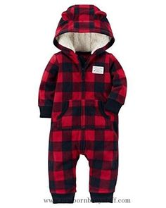Baby Boy Clothes Carter's Baby Boys Fleece Hooded Romper Jumpsuit, Red/Black Plaid, 12 Months  https://presentbaby.com