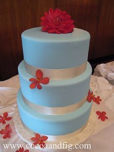 Blue, red and silver wedding cake